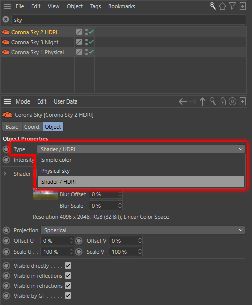 Corona Renderer 5 for Cinema 4D - The new Corona Sky object has 3 Types to choose from
