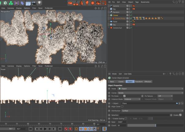 Corona Renderer 5 for Cinema 4D, improved handling of proxies - scene set up