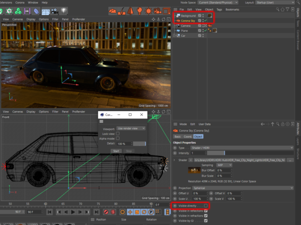 """Corona Renderer 5 for Cinema 4D, If using the Cinema 4D Background object with a Corona Sky, be sure to disable """"Visible Directly"""" for the Corona Sky. Also, note that Shadowcatcher Illuminator options were enabled for the Corona Lights."""