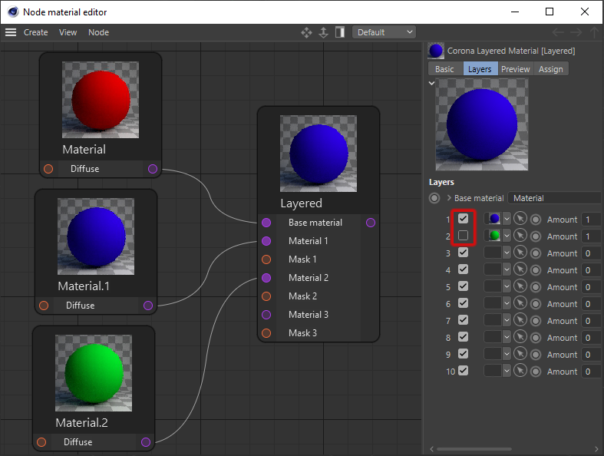 Corona Renderer 5 for Cinema 4D - You can now toggle any layer in the Corona Layered Material on or off