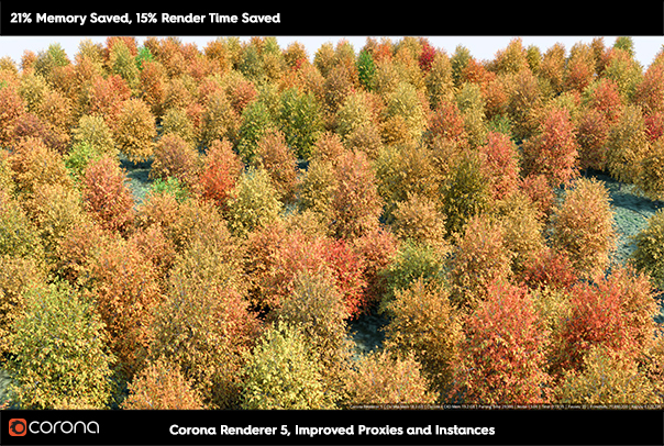Corona Renderer 5 for Cinema 4D, improves proxies and instances
