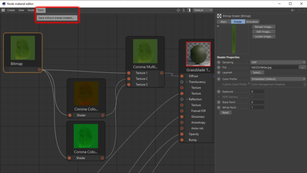 Corona Renderer 5 for Cinema 4D - The Node Material Editor has an option to save a copy of the scene, turning Shared shaders into regular copied shaders.