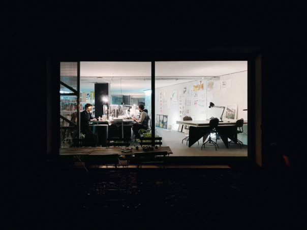 Okdraw, the office at night. (photograph by Nuno M.Sousa)