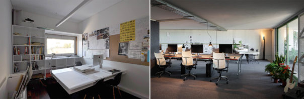 Okdraw, old and new office spaces - photograph by Nuno M.Sousa (left), and by José Campos Photography (right)