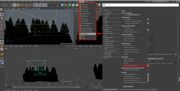 Corona Renderer 6 for Cinema 4D - UI grab, showing where to enable or disable using the Cinema 4D color space in the VFB