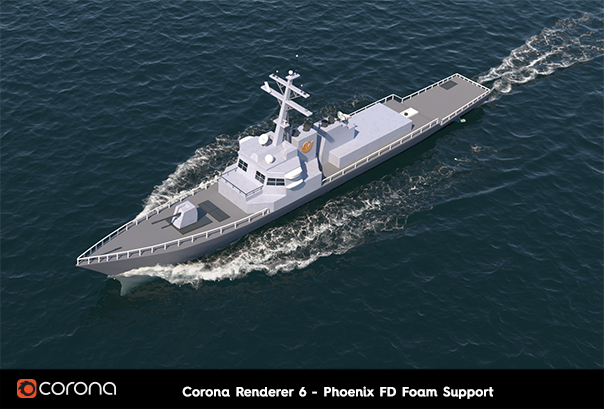 Corona Renderer 6, support for Phoenix FD Foam (boat in water Phoenix FD standard example)