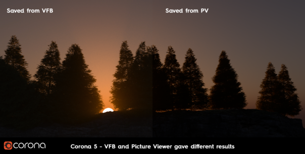 Corona Renderer 6 for Cinema 4D - comparison between using the Cinema 4D color space in the VFB, and using the VFB color space