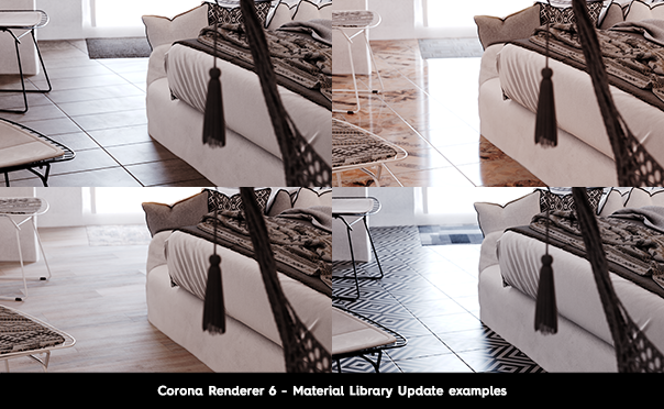 Corona Renderer 6 for 3ds Max, Material Library Update examples