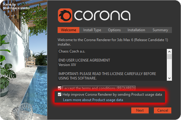 Corona Renderer 6 for 3ds Max, anonymous product usage data, installer
