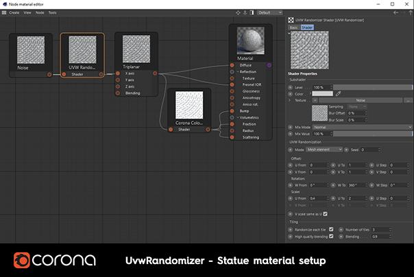 Corona Renderer 6 for Cinema 4D - UvwRandomizer can randomize procedural shaders
