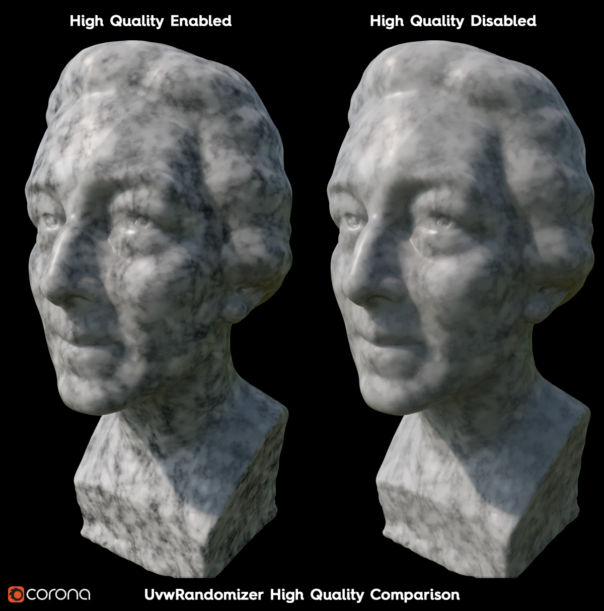 Corona Renderer 6 for Cinema 4D - High Quality checkbox comparison for the new texture randomization