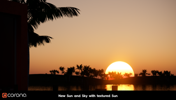 Corona Renderer 6 for Cinema 4D - New Sun and Sky with textured sun