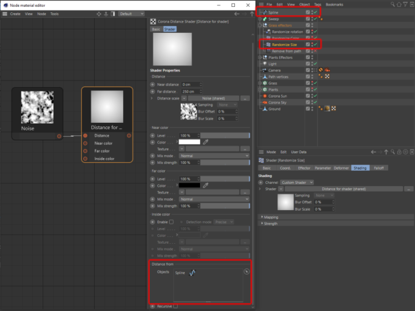 Corona Renderer 6 for Cinema 4D - Distance Shader, example set up in the Node Editor