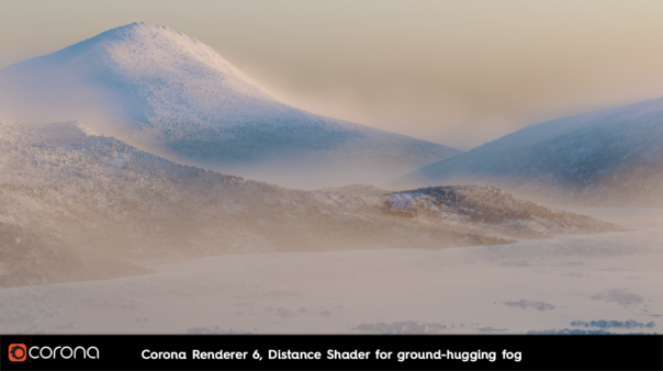 Corona Renderer 6 for Cinema 4D - Distance Shader, for ground-hugging fog, snow, and more