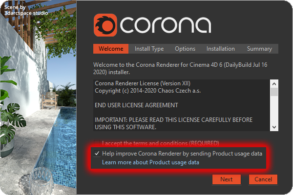 Corona Renderer 6 for Cinema 4D - optional anonymous product usage data, installer checkbox