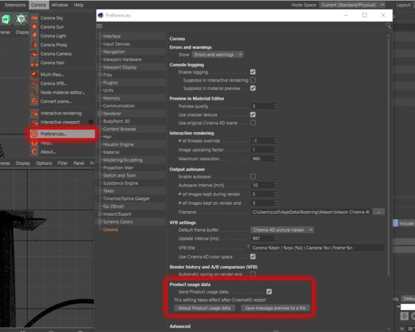 Corona Renderer 6 for Cinema 4D - optional anonymous product usage data, checkbox to enable or disable in the Preferences