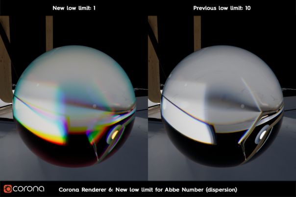 Corona Renderer 6 for Cinema 4D - new low limit for Abbe Number in Dispersion