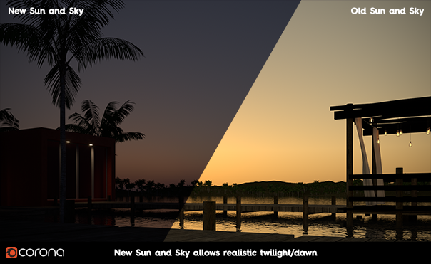 Corona Renderer 6 for Cinema 4D - New Sun and Sky allows realistic twilight/dawn