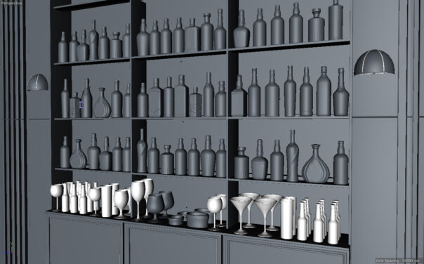 The Tyrconnell bar scene - Back wall of bottle and glasses