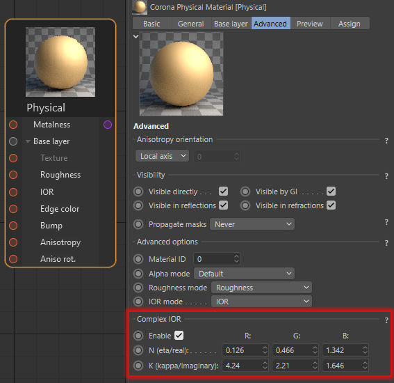 Corona Renderer 7 for Cinema 4D - you can control the Edge Color of metals via a simple color, or via Complex IOR for absolute realism