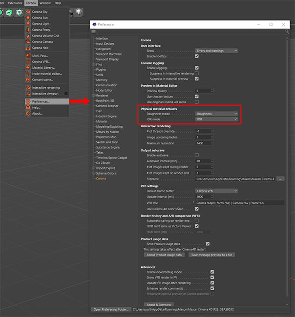 Corona Renderer 7 for Cinema 4D - setting defaults for roughness and IOR at the preferences level