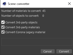 Corona Renderer 7 for Cinema 4D - you can convert all Legacy Materials in a scene to the new Physical Material